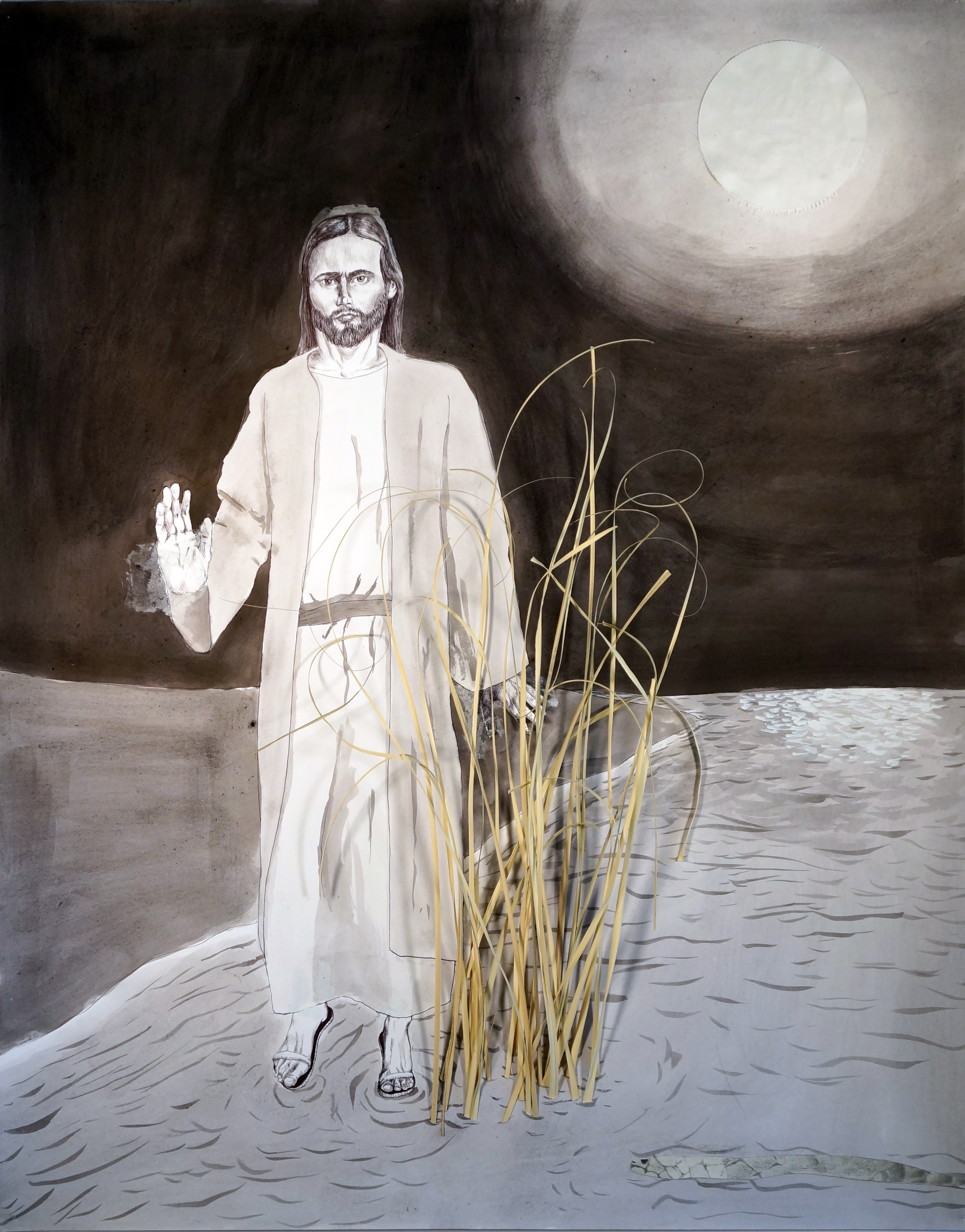 Jesus Walking Through the Reeds Under a Full Moon